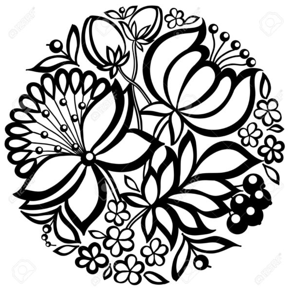 19859017-black-and-white-floral-arrangement-in-the-shape-of-a-circle-stock-photo