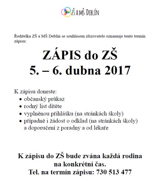 ZÁPIS ZŠ 2017