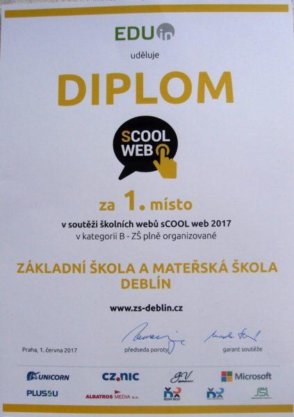 Diplom za 1. místo v soutěži školních webů sCOOL web 2017