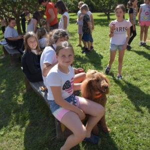 Děti si hladí psy
